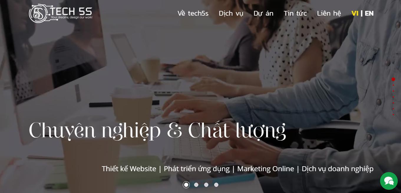 Thiết kế website học trực tuyến Tech5S